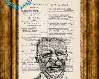 "US President Theodore ""Teddy"" Roosevelt Drawing - Beautifully Upcycled Vintage Dictionary Page Book Art Print"