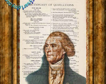 US President Thomas Jefferson Colored Drawing - Beautifully Upcycled Vintage Dictionary Page Book Art Print
