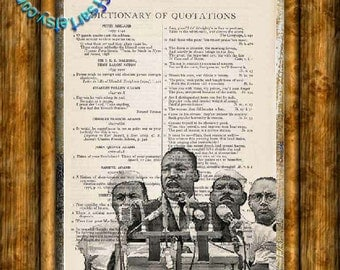 Martin Luther King, Jr I have a Dream Speech Art Drawing - Beautifully Upcycled Vintage Dictionary Page Book Art Print