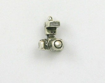 Sterling Silver 3-D 35mm Camera with Flash Charm