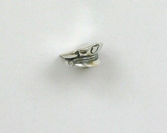 Sterling Silver 3D Police Officer Hat Charm