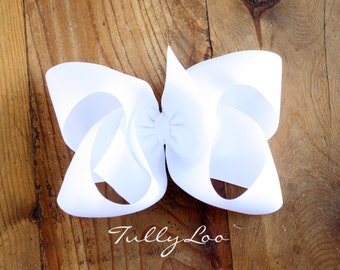 White Jumbo Basic Boutique Hair Bow 6 inches across Choose your clip, I love big Bows and I cannot lie, girls hair accessory  clip