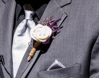 Romantic Ivory Rose Boutonniere With Lavender Accents