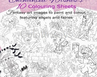 INSTANT DOWNLOAD - Enchanted Wishes Colouring Book 1 Fairies and Fantasy
