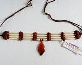 Carnelian pendant, genuine buffalo bone beads, carnelian beads, Native American, soho, boho, pow wow, drum circle, hand drum, reglaia