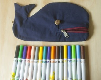 The case to the more funky pencil Whale-shaped and called Moby Dick, Navy Blue and Red Interior handmade by La Machine
