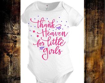Baby Girl Onesie - Custom Onesie - Thank Heaven For Little Girls - Cute Onesie - Baby Shower Gift
