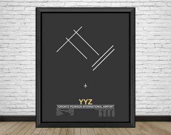 Toronto Pearson International Airport (YYZ) Toronto, Canada, Minimalist Style Airport Runway Prints with Airport Facts