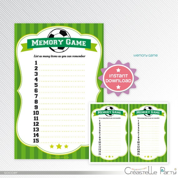 green soccer memory game baby shower printable game sport game