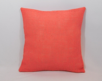 Custom made country rustic coral burlap pillow cover/sham. Multiple sizes to choose from.