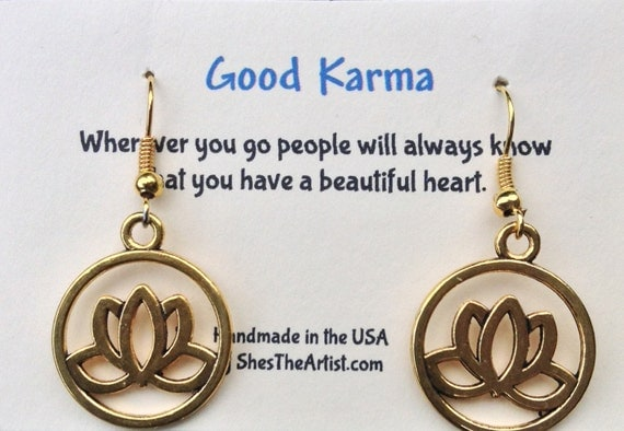 Lotus Flower Earrings Good Karma Jewelry Quote Gift- Bridesmaids Gift - Friendship Jewelry - Bridal Party Gift GKJ9