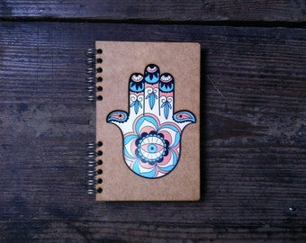 A5 Laser cut recycled notebook Hand of Fatima