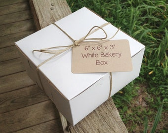 """6"""" x 6"""" x 3""""  White Bakery Box - Pastry Box •  Food Safe • Wedding Cake Box • Cookie Box • Pastry Box • Deli Box • Gifts • Baked Goods"""