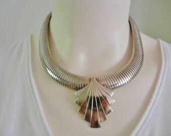 Vintage silver snake necklace, silver snake statement necklace, deco silver necklace, mod silver necklace, cleopatra silver necklace