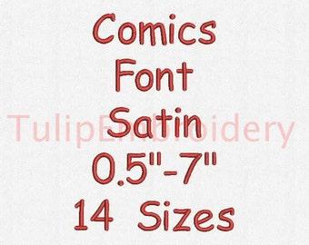 Comics Font 14 Sizes Embroidery Design