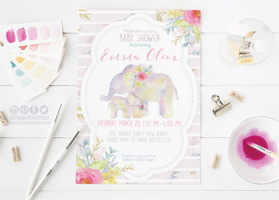 Watercolor Elephants And Flowers Baby Shower Invitation