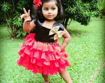 Minnie Mouse Frilly Red & Black Baby Theme Birthday Party Dress