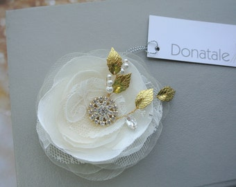Wedding hair flower ,Wedding Hairpiece, Bridal hair flower, Ivory Champagne  Gold  Hair Flower  ,  Wedding Hair accessories -LILIANA