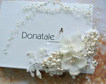 YVETTE- Wedding Hair comb, Wedding Hair Piece ,Bridal Headpiece, Bridal  Hair comb,  Wedding headpiece, Beige Champagne Bridal  Hair Flowers