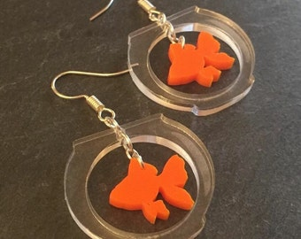 Goldfish in a bowl earrings by AsBeAu