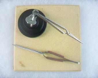 Jewelry Soldering Set Third Hand 3 pc Tweezer Stand and Ceramic Soldering Plate