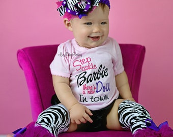 Girls zebra new in town doll outfit set purple and pink baby shower gift set OTT headband hair bow