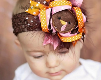 OTT girls turkey thanksgiving headband hair bow non slip grip clip pink orange brown