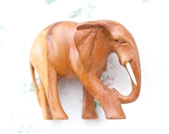Wooden Elephant - Carved Wood Sculpture - Boho Home Decor