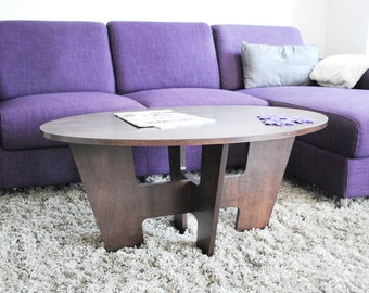 Ellipse Coffee Table - Wood Coffee Table - Modern Furniture - Living Room Furniture - Accent Table - Stained Maple - Plywood Furniture