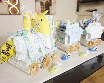 Choo Choo Train Diaper Cake, Baby Shower Diaper Cake, Fancy Baby Shower Gift