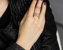 Double Chain Fashion silver Ring,New Design, Different Style of Slave Ring Handmade 925 Silver Sterling-RNG-2029