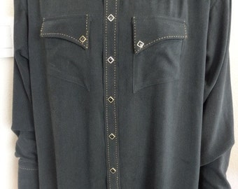 """Vintage 'Rockmount' Cowboy Shirt MADE IN USA - Chest 56"""" Length 31"""" - Lovely!!"""