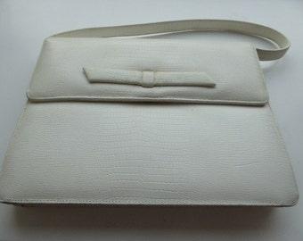 Vintage 1960's White Leather Handbag With Original Mirror Inside - Lovely!!