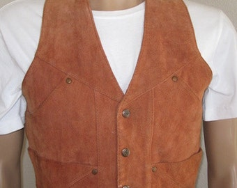 Vintage Mens 'Chess King' American Suede Waistcoat - Size Medium