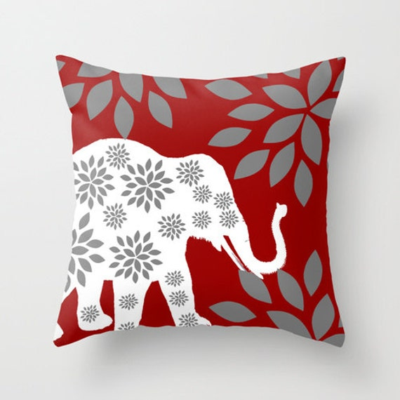 Grey Elephant Throw Pillow : Elephant Throw Pillow Cover Crimson Grey White Decor Elephant