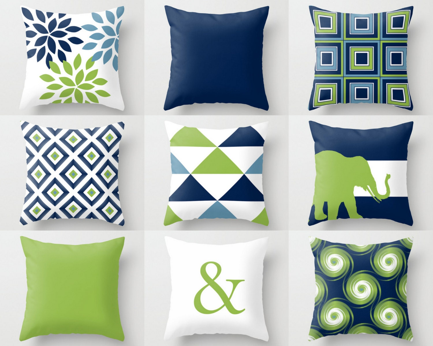 Throw Pillow Covers Navy Blue Green White Stone Couch Cushion