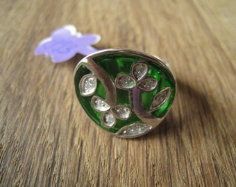 Sterling Silver Green Enamel And CZ Flower Ring 8.25-8.50 (993)