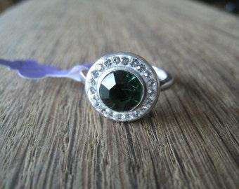 Sterling Silver Green Quartz And Swarovski Crystal Eye Ring 7.5 (929)