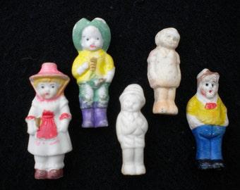 5 Vintage Bisque Dolls, Porcelain Dolls, Penny Dolls, Frozen Charlotte Dolls