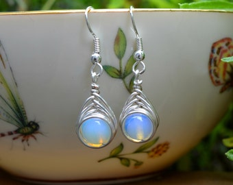 Moonstone Wire Wrapped Drop Earrings (Free shipping in Canada!)