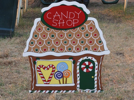 Gingerbread house christmas yard art by playfulyardart on etsy for Gingerbread house outdoor decorations