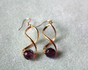 Purple Swarovski Earrings,Spiral Pinch Bail Earrings,Gold Plated Swirl Earrings with Purple Swarovski Crystals,Swarovski Crystal Earrings