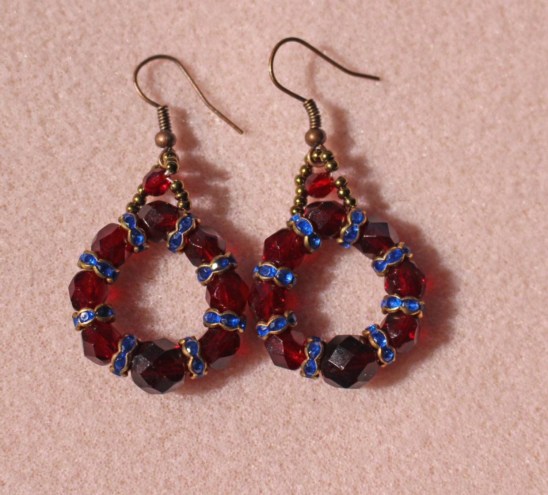 Dark Red Crystal Loop Earrings,crystal And Blue Rondelle Earrings,blue And Red  Dangle Earrings,dark Garnet Loop Earrings,crystal Earrings