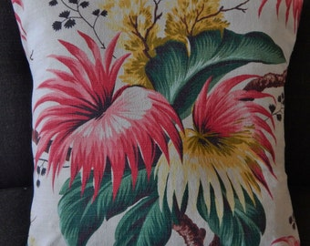 "Tropical Pillow Cover ""Passion Flower-White"" Barkcloth (20"") Mid Century Miami Beach  Eames Retro"