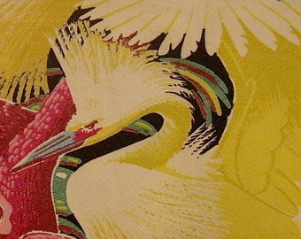 "Mid Century Miami Beach Art Deco Egret Pillow Cover 1940's Barkcloth Tropical (21"")"