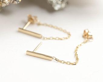 14k solid gold bar chain earrings, dangle chain earrings, bar earrings, yellow gold bar earrings with chain, rose gold, white gold, bar-e105