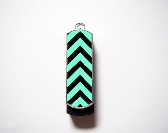 Black and Mint Stripes USB Flash Drive 8GB, Personalized Flash Drive, Thumb Drive
