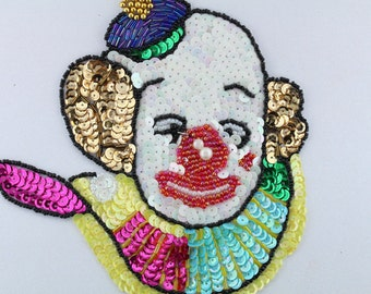 Large Sequin and Beaded Clown Applique 5.5""