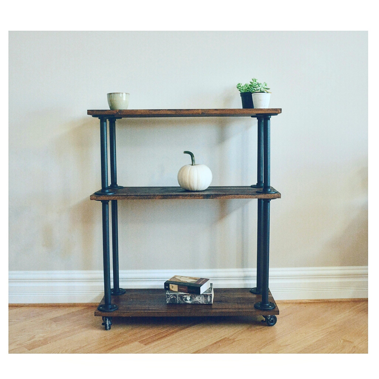 Pipe Shelf Kitchen: Kitchen Bar Cart / Book Shelf Pipe And Wood By LisaMTerry