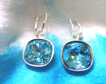 Swarovski Turquoise Cushion Cut Crystal and Sterling Silver Earrings